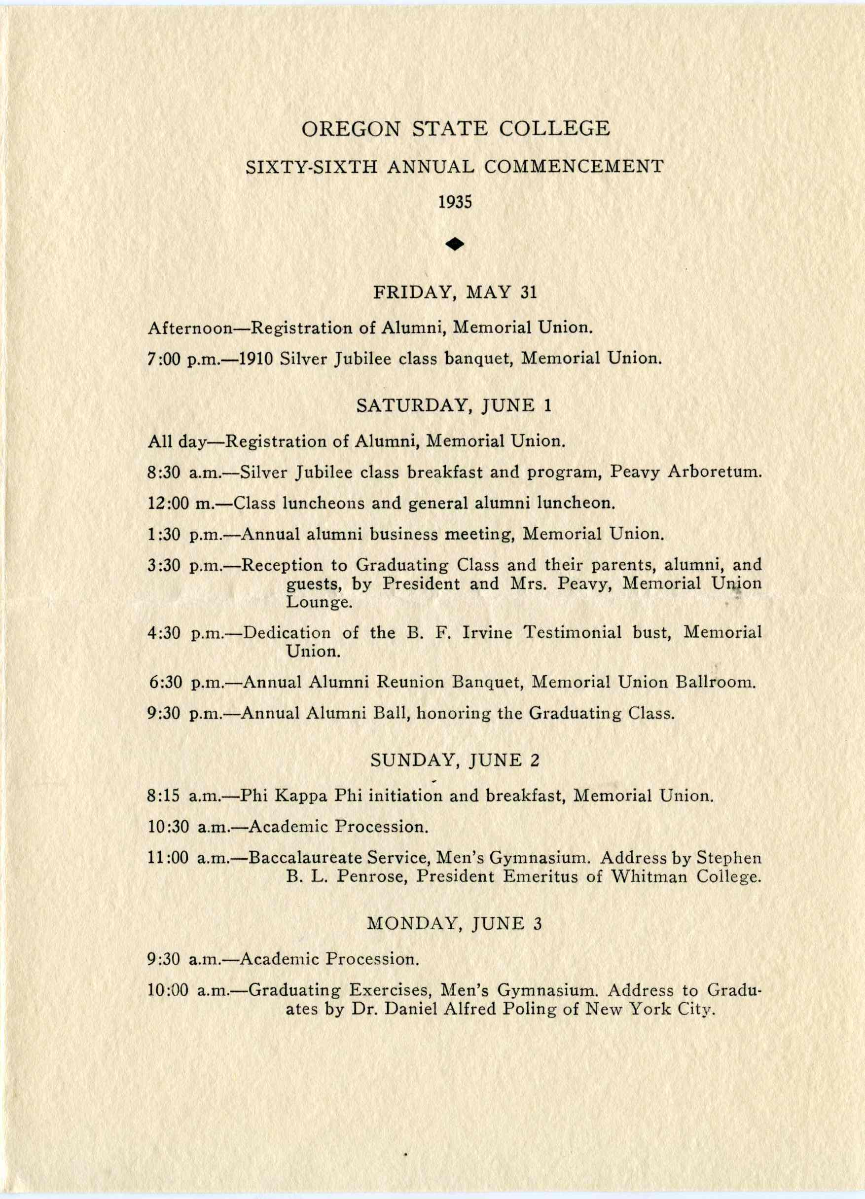 Photo of 1935 Commencement Schedule