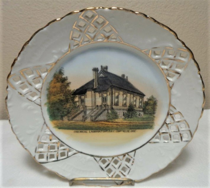 Commemorative Plate Depicting the Chemical Laboratory, OAC, Corvallis, OR